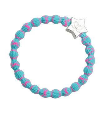 ByEloise ByEloise : Blauwe armband met roze spikkels en zilveren ster