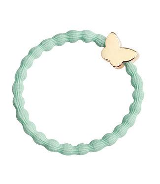ByEloise ByEloise : Mintkleurige armband met gouden vlinder