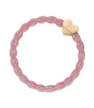 ByEloise ByEloise : Blinkende donkerroze armband met gouden hart