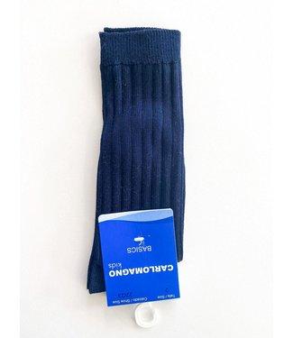 Carlomagno Carlomagno : Donkerblauwe kniekous met ribbels