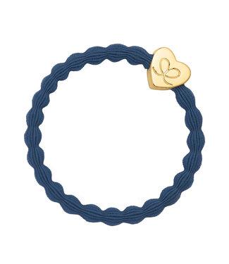 ByEloise ByEloise : Donkerblauwe armband met gouden hart