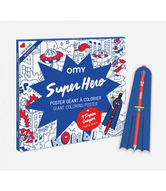 OMY OMY : Kleurposter - SUPERHERO