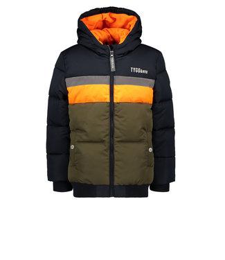 Tygo & Vito Tygo & Vito : Donkerblauwe  winterjas met oranje en khaki