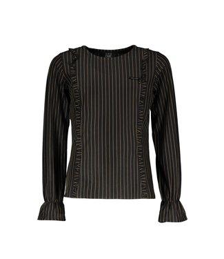 Elle Chic Elle Chic : Zwarte blouse met streep en ruffles