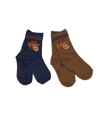 Someone Someone : Duopack geribbelde kousen Feet (Aap)