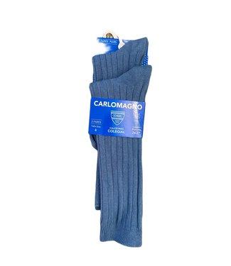 Carlomagno Carlomagno : Grijsblauwe geribbelde kniekous (2 paar)