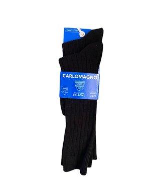 Carlomagno Carlomagno : Zwarte geribbelde kniekous (2 paar)