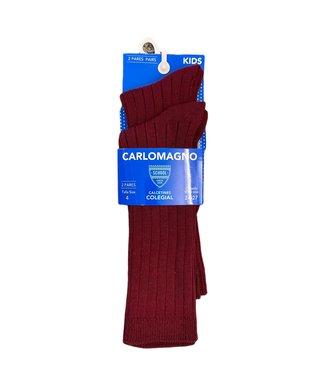 Carlomagno Carlomagno : Bordeaux geribbelde kniekous (2 paar)
