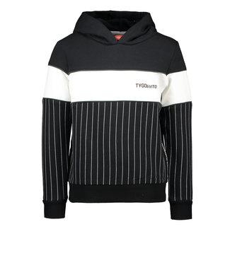 Tygo & Vito Tygo & Vito : Zwarte gestreepte hoodie