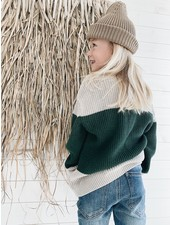 I Dig Denim Bo block knitted sweater
