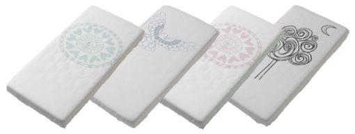 De Witlof for kids hoeslakentjes hebben rondom elastiek en passen ook na veelvuldig wassen nog goed om het matras. Met unieke print.