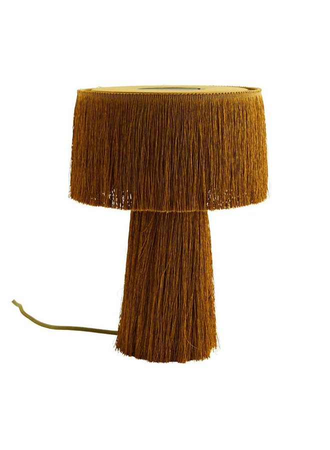 Madam Stoltz table lamp with fringes mustard