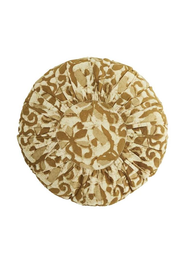 Madam Stoltz round pillow beige brown sugar