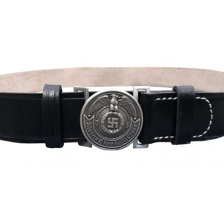 Black leather officer belt