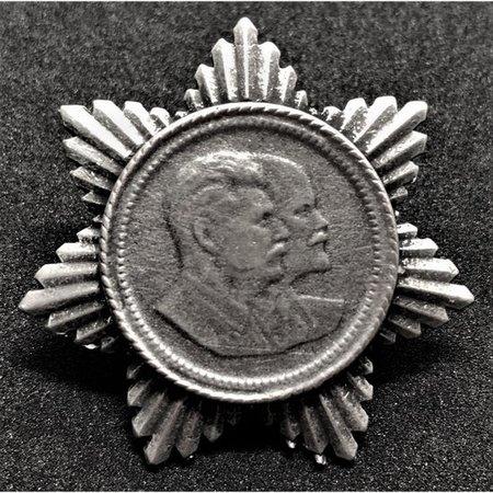 Stalin and Lenin propaganda pin