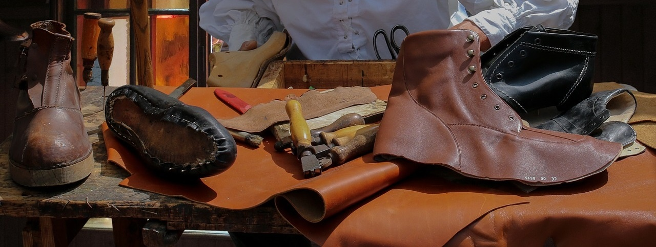 Leren schoenen in de maak