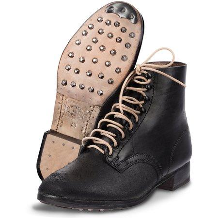 Duitse zwarte leren leger schoenen zwart
