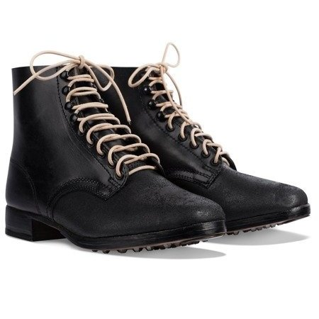 German leather army ankle boots black