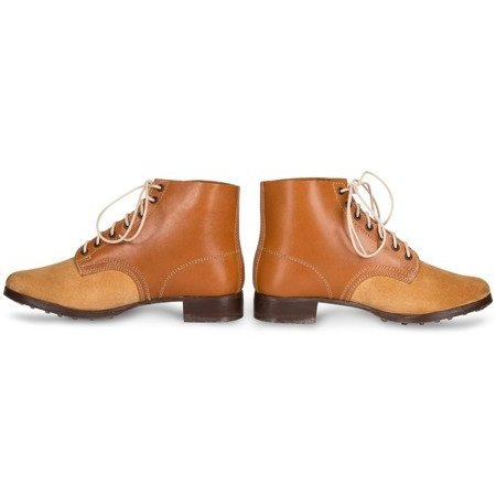 German leather army ankle boots undyed light brown