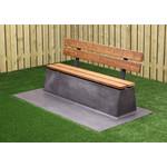 Buitenplezier-online Beton bank antraciet-beton Deluxe met leuning