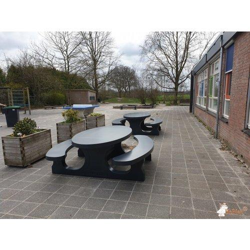 Buitenplezier-online Picknicktafel beton standaard ovaal antraciet
