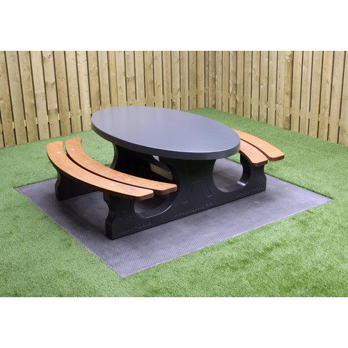 Buitenplezier-online Picknicktafel beton ovaal Deluxe antraciet
