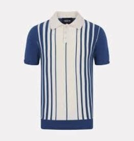 Collectif Pablo striped knitted polo shirt
