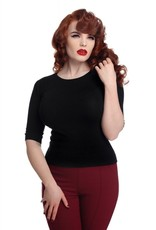 Collectif Chrissie  Plain knitted top black