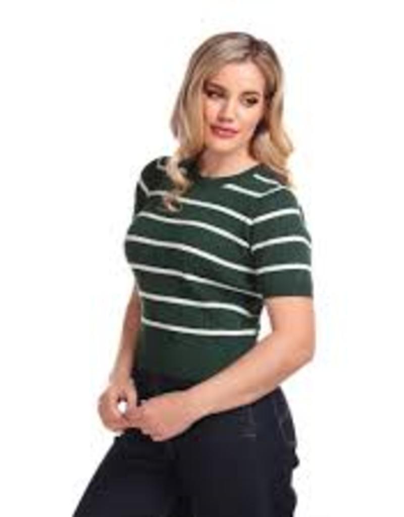 Collectif Lynn Striped Jumper Green