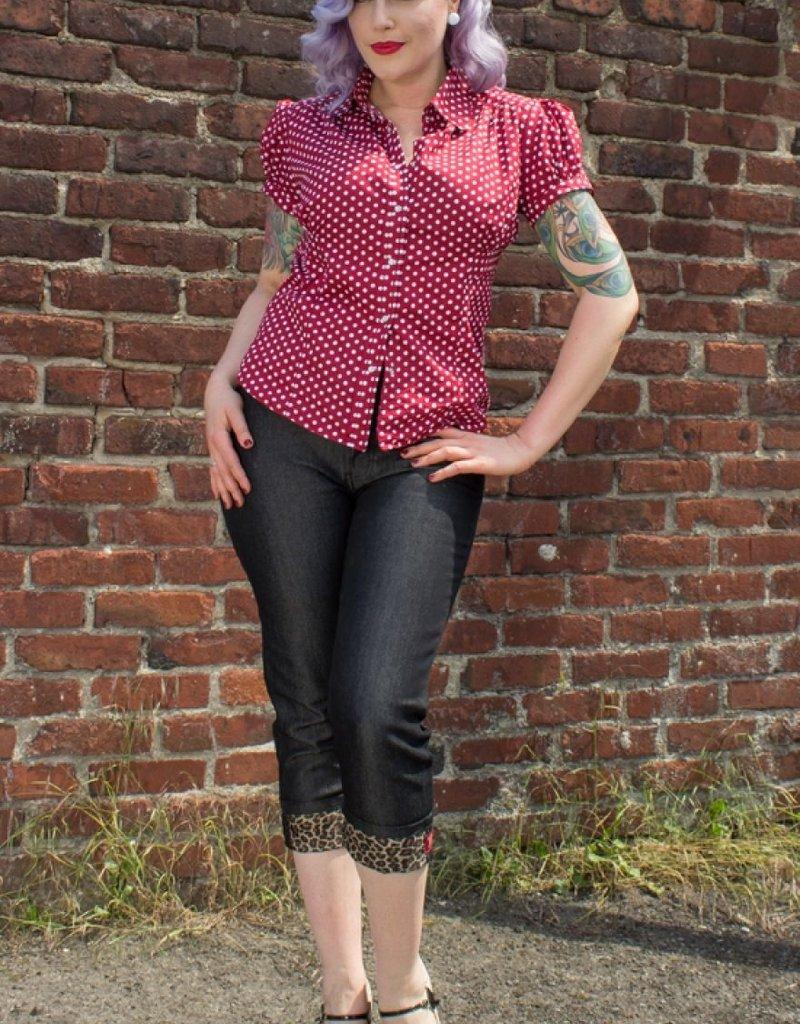 Rumble59 Black Capri jeans Leopatch