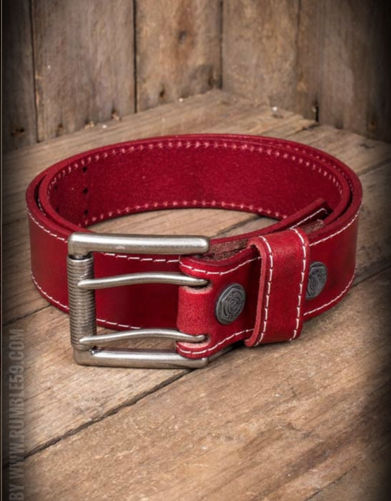 Rumble59 Leather belt with double-buckle