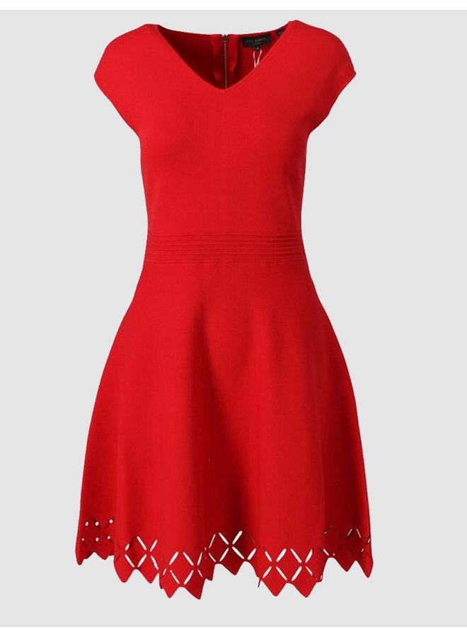stitch dtl v neck skater dress RED