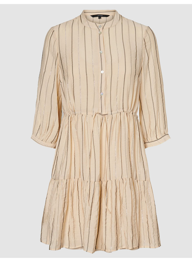 VMOVIDA 3/4 SHORT DRESS WVN B-12 Birch/Grey+Lur