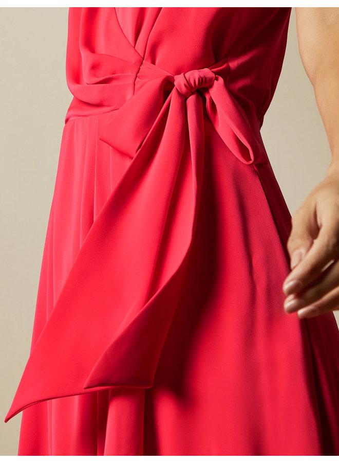 Sleeveless wrap dress coral
