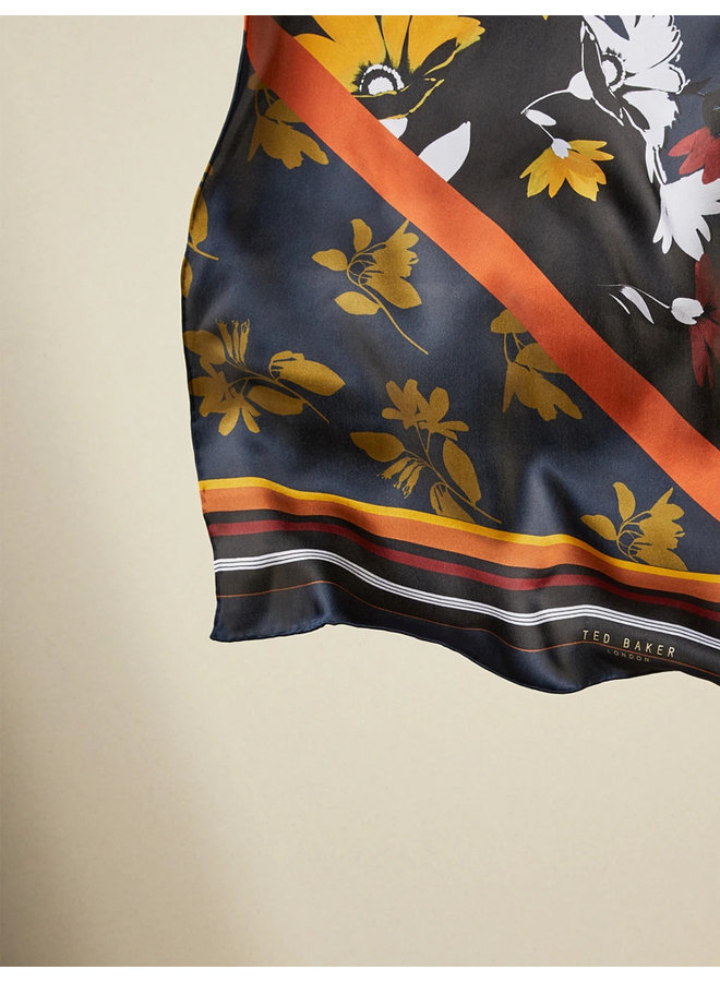 Savanna contrast long silk scarf navy