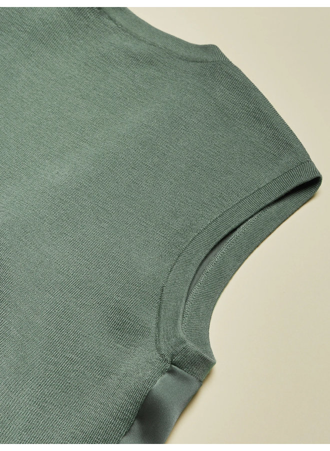 RUCHED FRONT KNITTED TOP mint