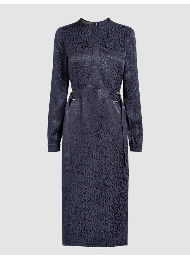 Animal Jacquard Utility Midi Dress dk-blue