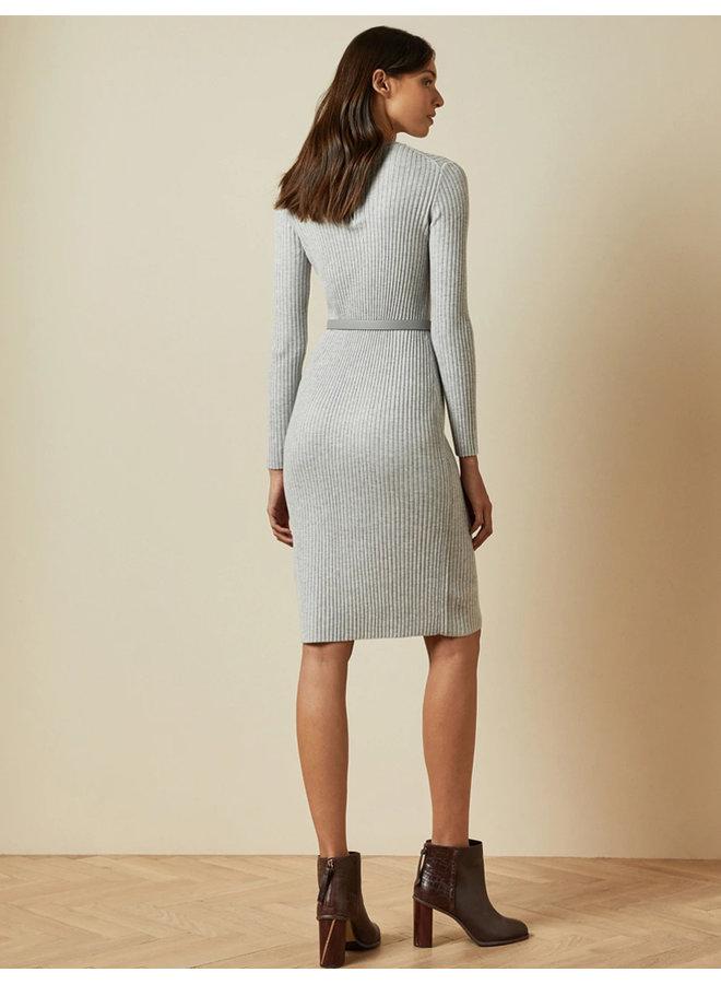 Long Sleeve Ribbed Knitted Midi Dress grey