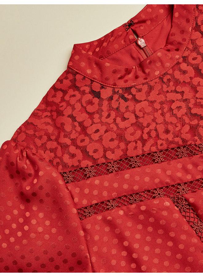 Long Sleeve Lace Panel Mini Dress dk-orange
