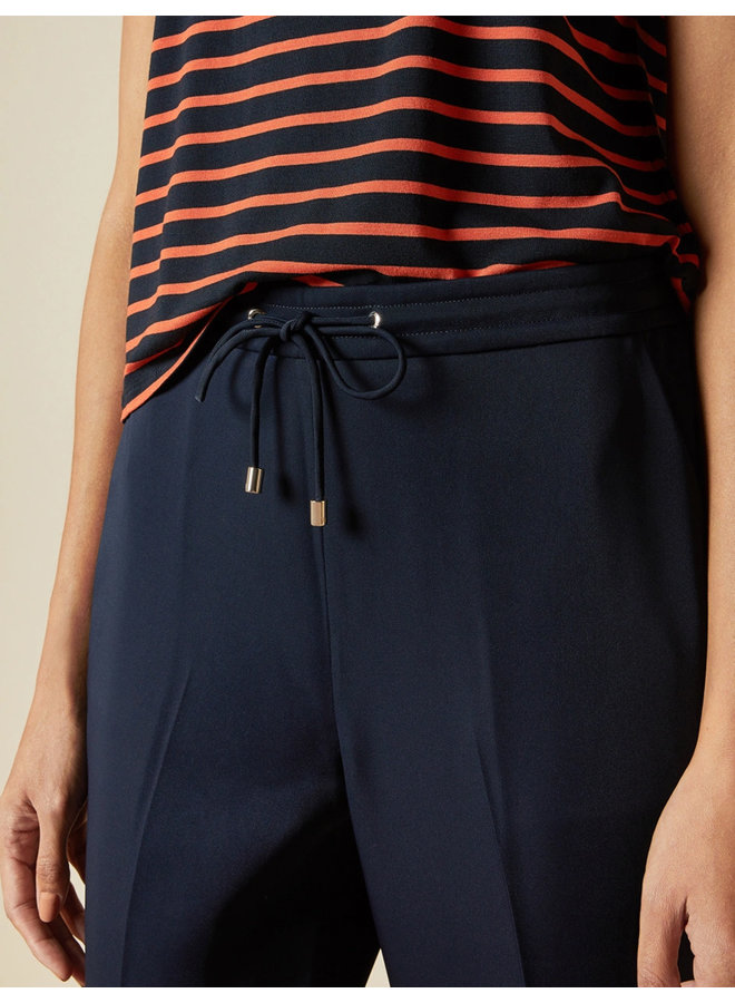 Elasticated waistband cropped trousers dk-blue