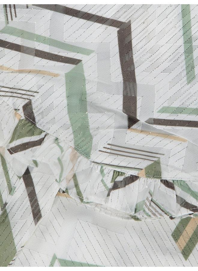 EVERGLADE frilled kimono top white