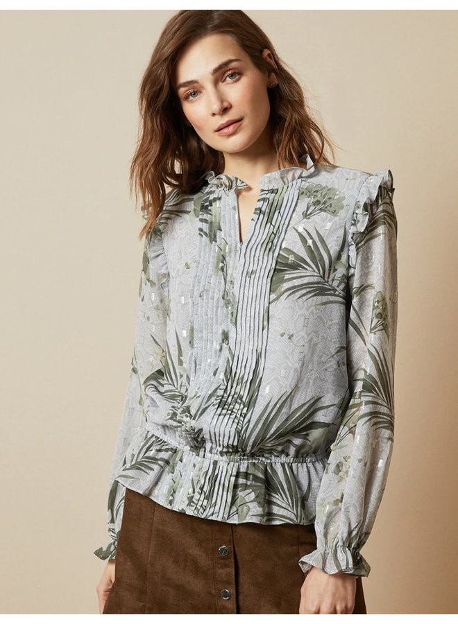 Highland frill blouse grey