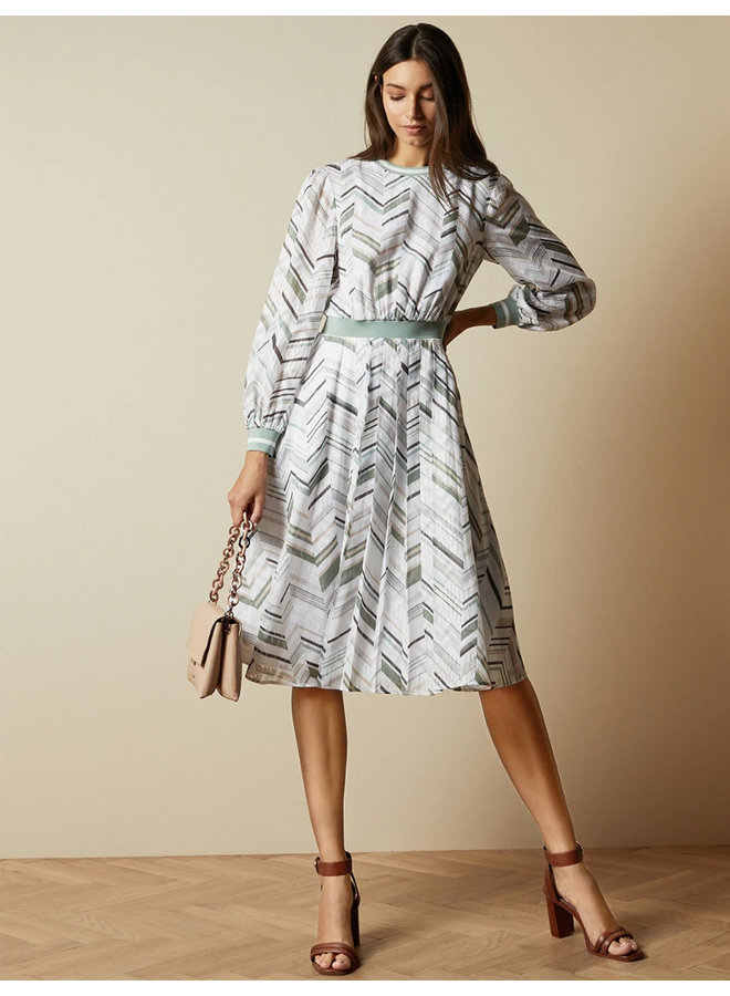 Everglade Long Sleeve Midi Dress white