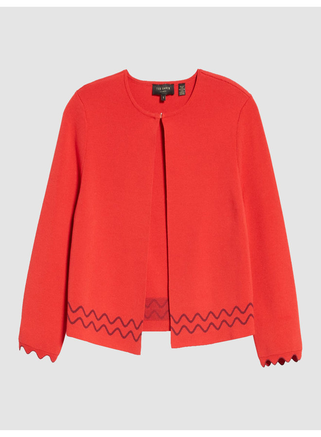 SCALLOP EDGE DETAIL CARDIGAN red