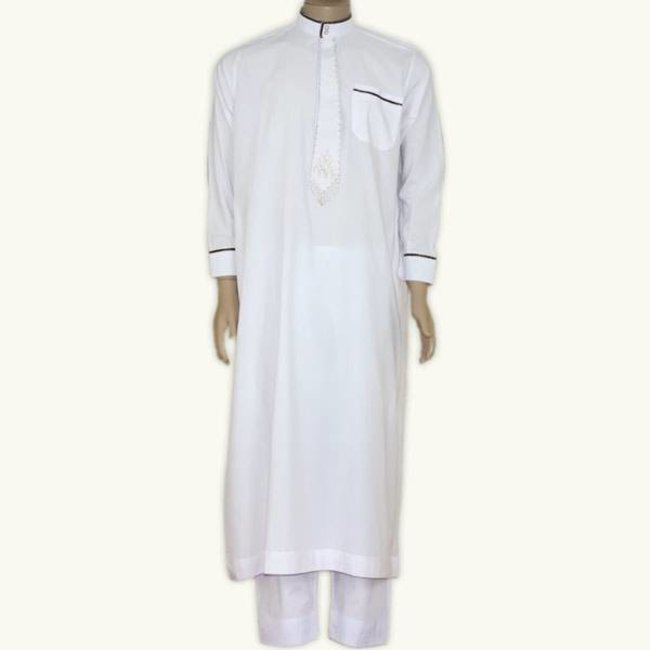 Arab Galabiyah with pants - White