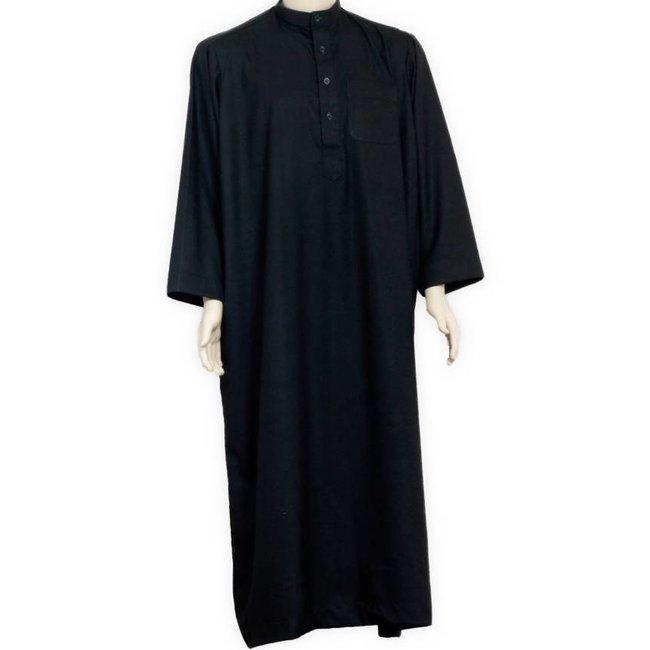 Arabischer Kaftan, Galabiyah m. Stehkragen in Schwarz