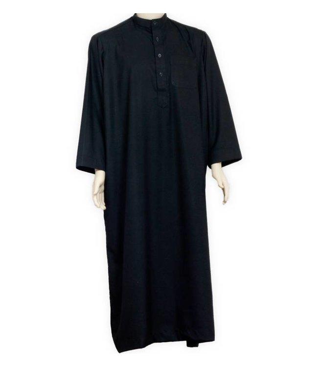 Arabic Galabiya Kaftan Jubbah in Black