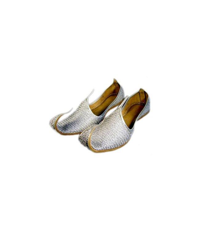Indische Khussa Schuhe Schnabelschuhe in Silber