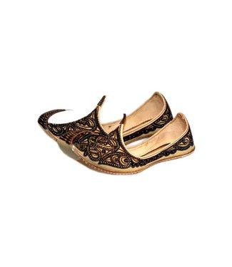 Indische Khussa Schuhe Schnabelschuhe Braun-Schwarz