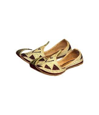 Indische Khussa Schuhe Schnabelschuhe Gold Rot